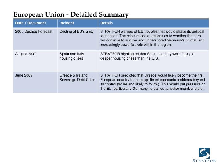 European Union - Detailed Summary