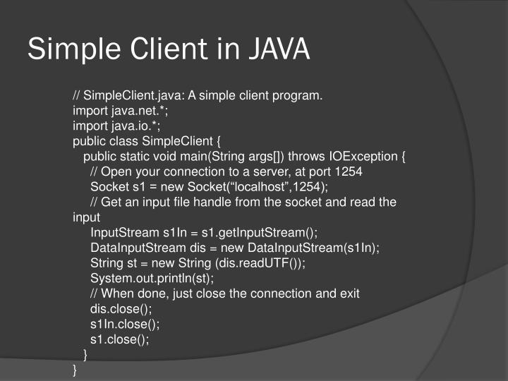 Simple Client in JAVA