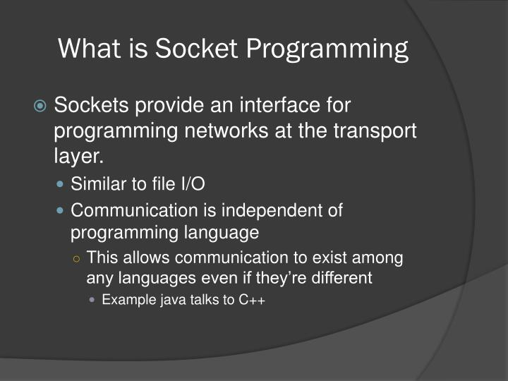 What is socket programming