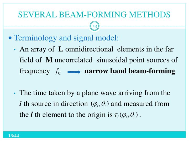 SEVERAL BEAM-FORMING METHODS