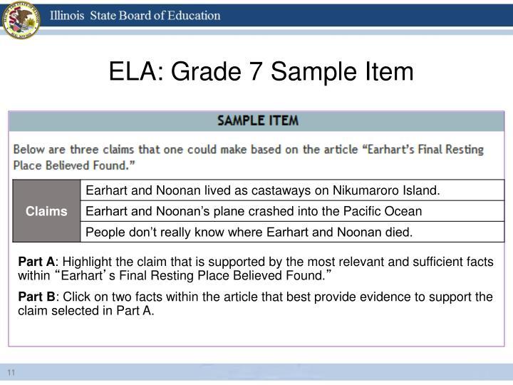 ELA: Grade 7 Sample Item