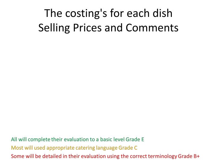 The costing's for each dish