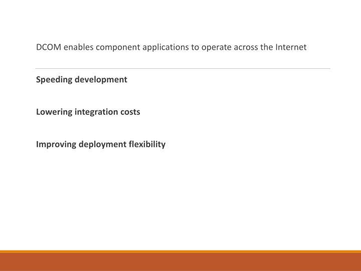 DCOM enables component applications to operate across the Internet