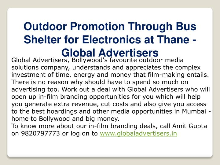 Outdoor Promotion Through Bus Shelter for Electronics at Thane - Global Advertisers