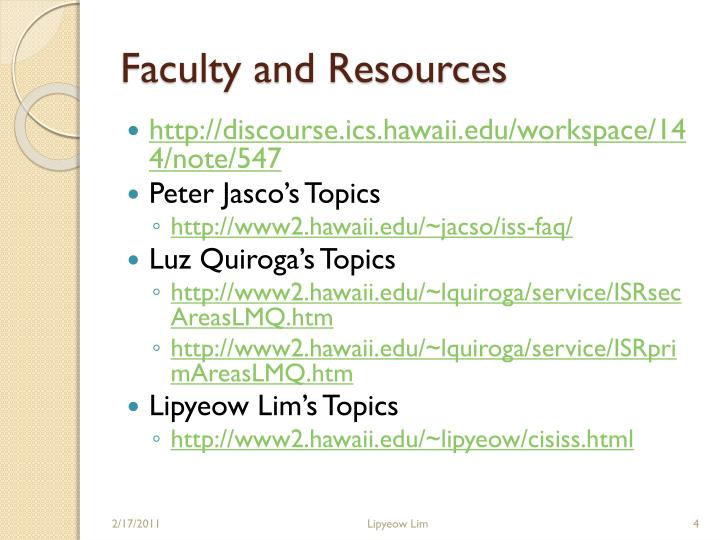 Faculty and Resources