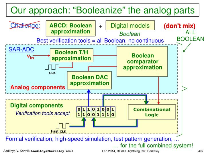 "Our approach: ""Booleanize"" the analog parts"