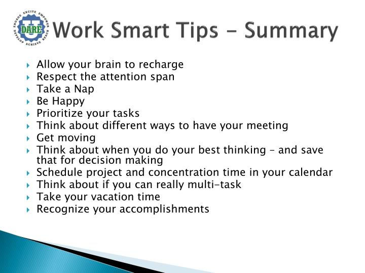 Work Smart Tips - Summary