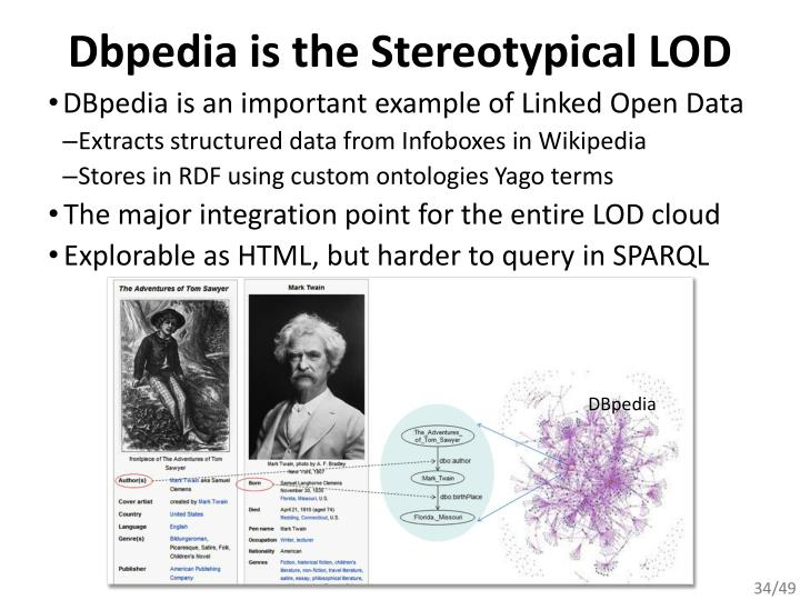 Dbpedia is the Stereotypical LOD
