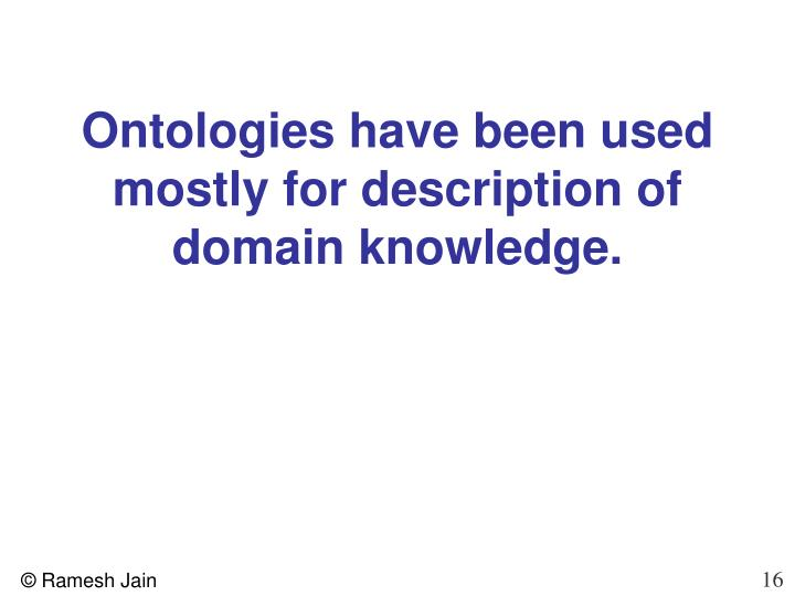 Ontologies have been used mostly for description of domain knowledge.
