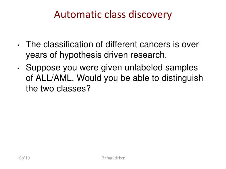 Automatic class discovery