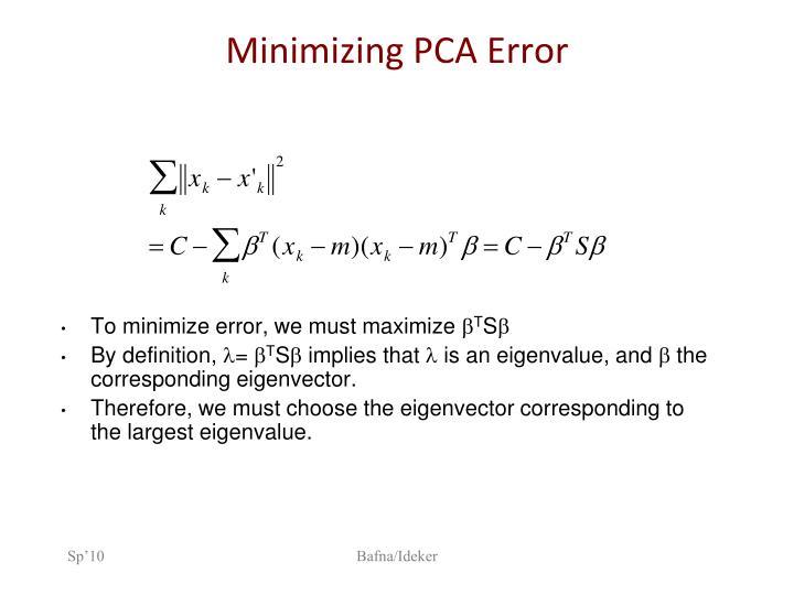 Minimizing PCA Error