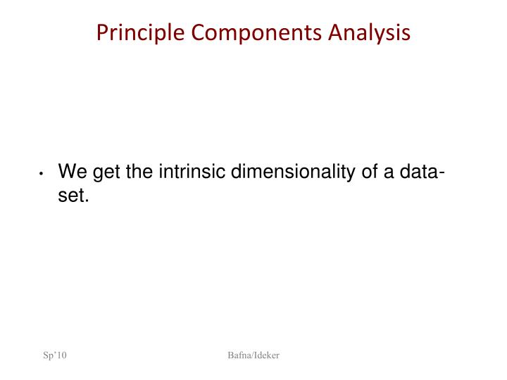 Principle Components Analysis