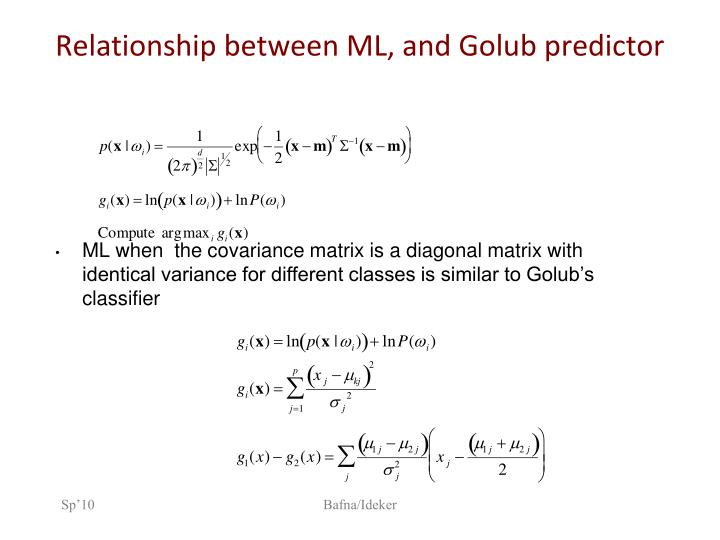 Relationship between ML, and Golub predictor
