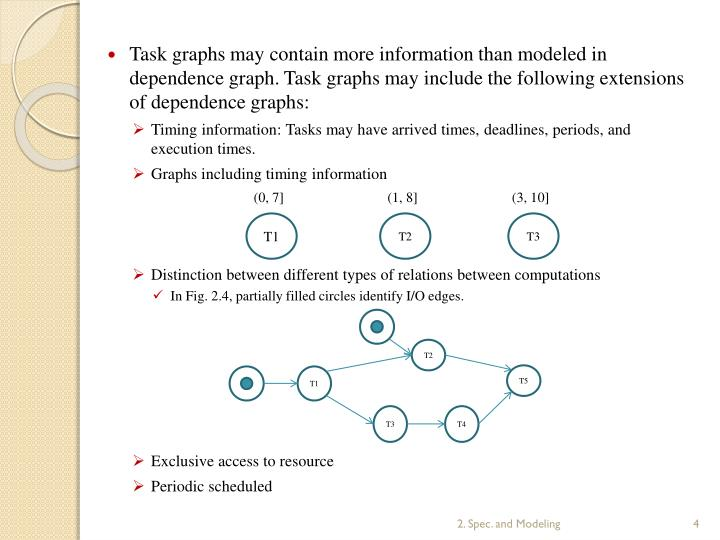 Task graphs may contain more information than modeled in dependence graph. Task graphs may include the following extensions of dependence graphs: