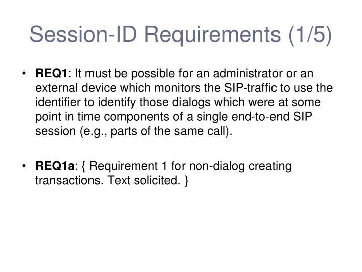 Session-ID Requirements (