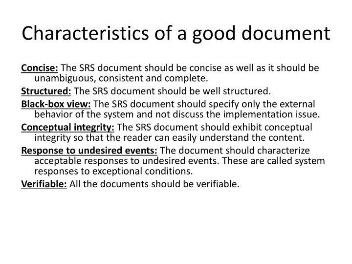 Characteristics of a good document