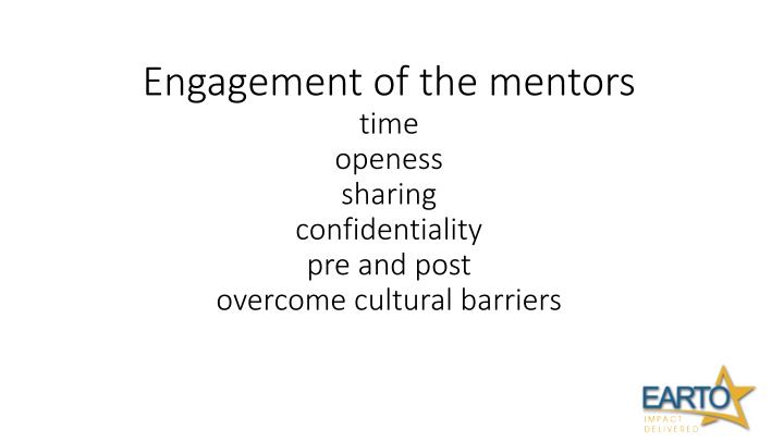 Engagement of the mentors