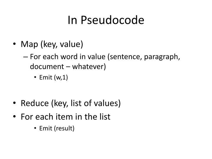In Pseudocode