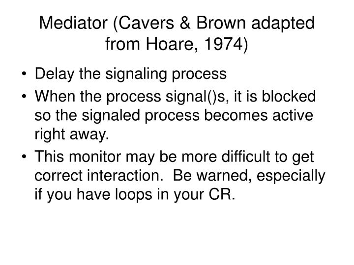 Mediator (Cavers & Brown adapted from Hoare, 1974)