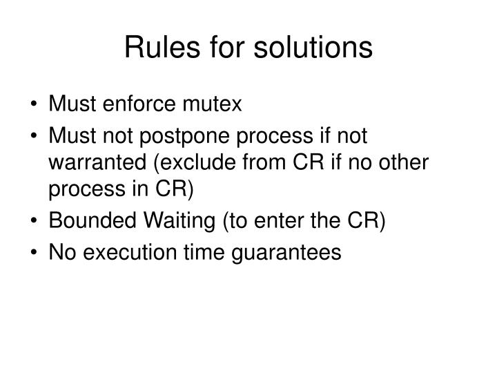 Rules for solutions