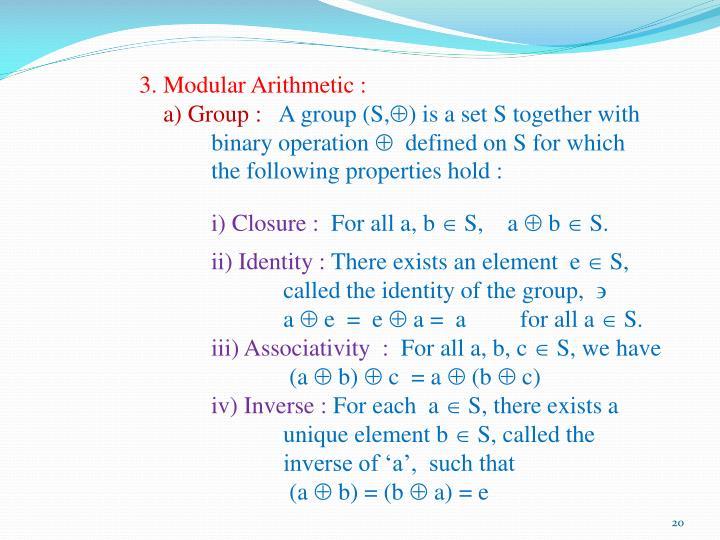 3. Modular Arithmetic :