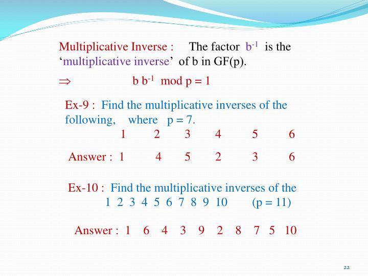 Multiplicative Inverse :