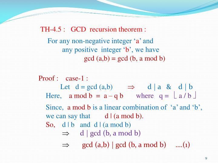 TH-4.5 :   GCD  recursion theorem :