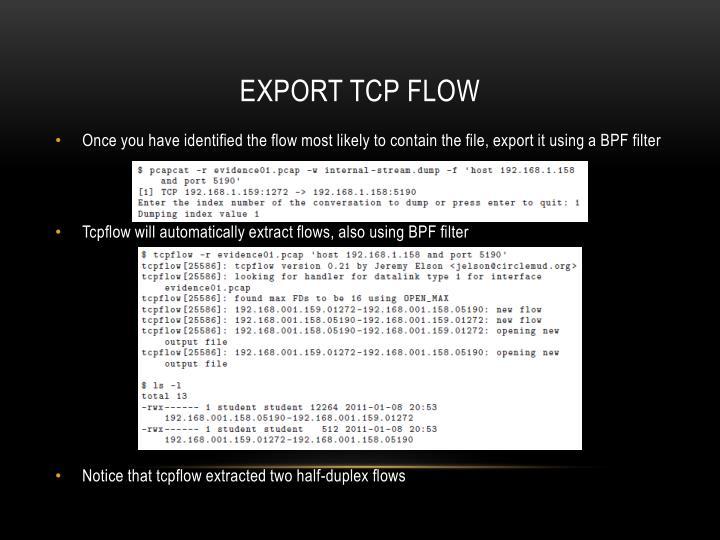 Export TCP flow