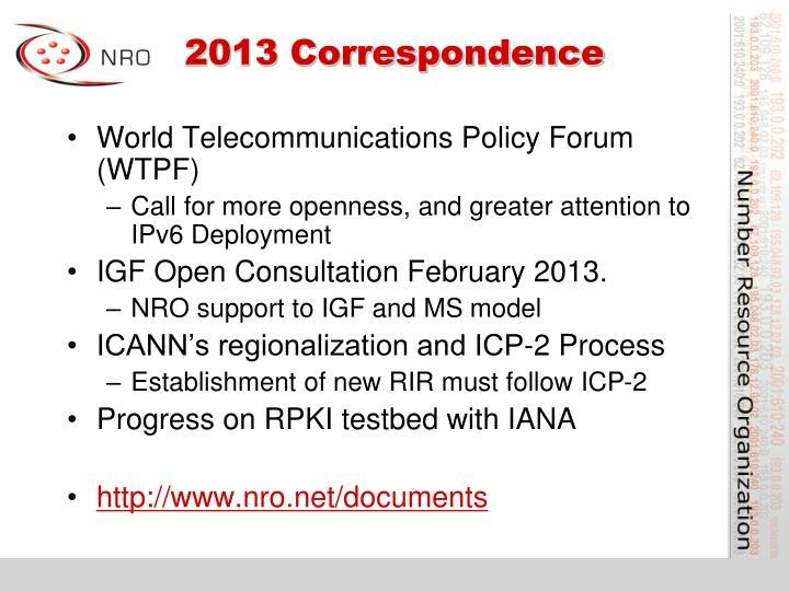 2013 Correspondence