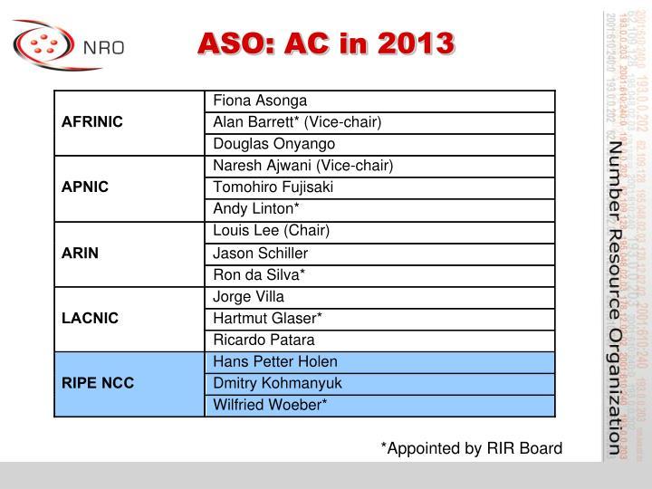 ASO: AC in 2013