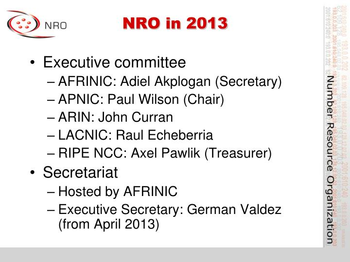 NRO in 2013