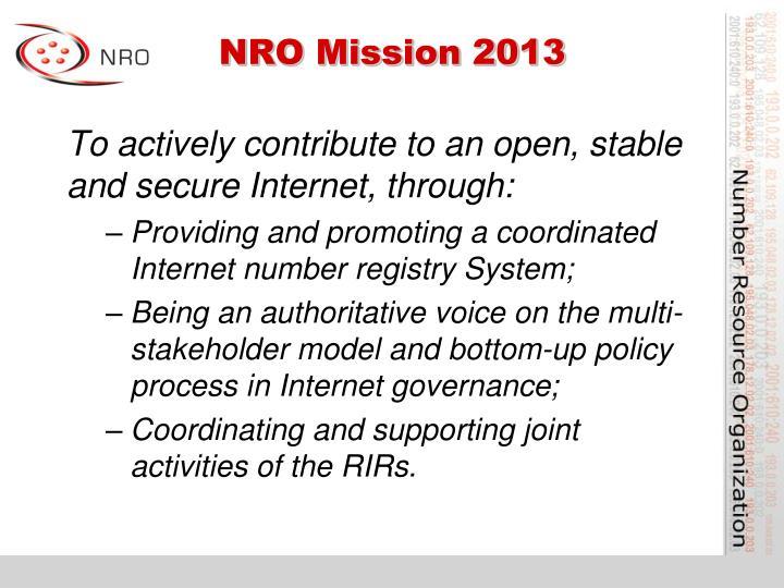 NRO Mission 2013