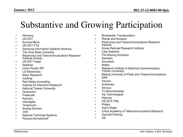 Substantive and Growing Participation