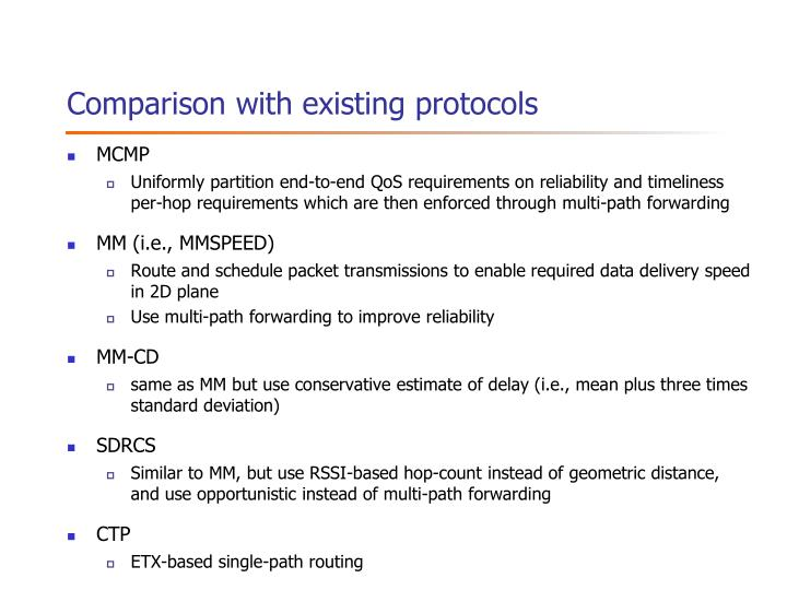 Comparison with existing protocols