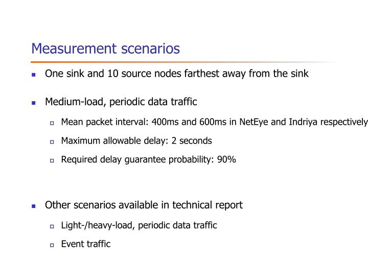 Measurement scenarios