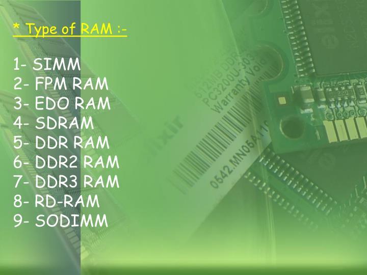 * Type of RAM :-