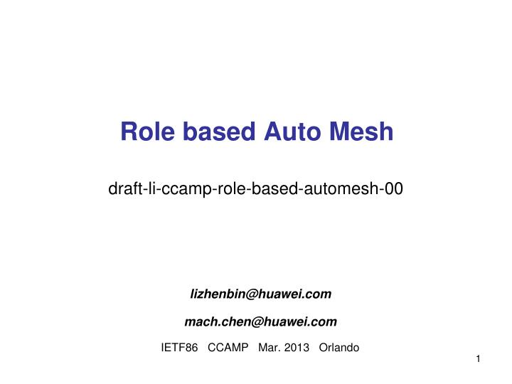Role based auto mesh