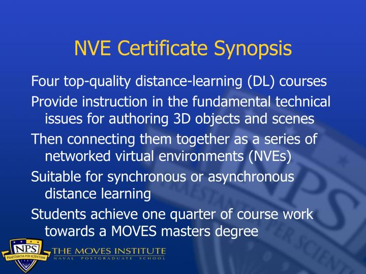 Nve certificate synopsis