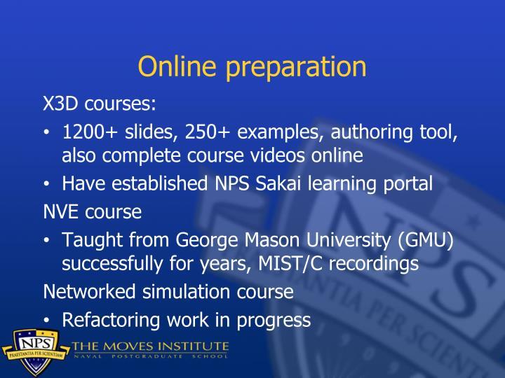 Online preparation