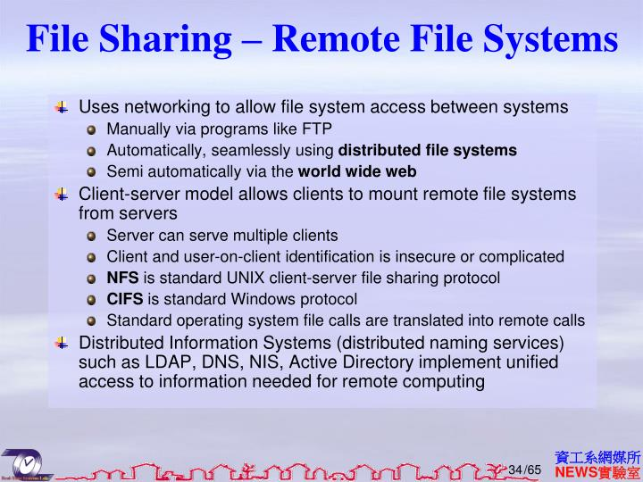 File Sharing – Remote File Systems