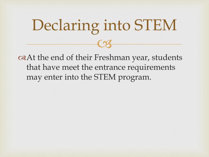Declaring into STEM