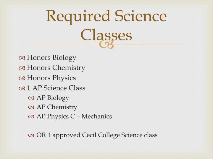 Required Science Classes