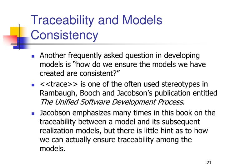 Traceability and Models Consistency