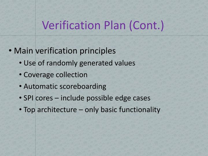 Verification Plan (Cont.)