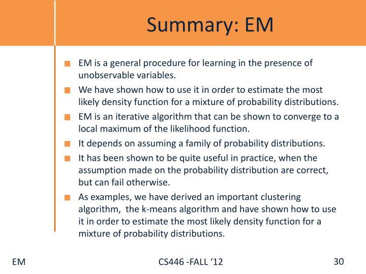 Summary: EM
