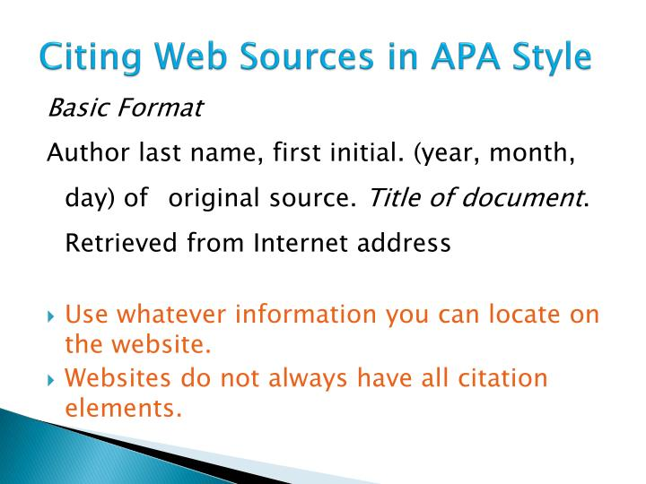 Citing Web Sources in APA Style