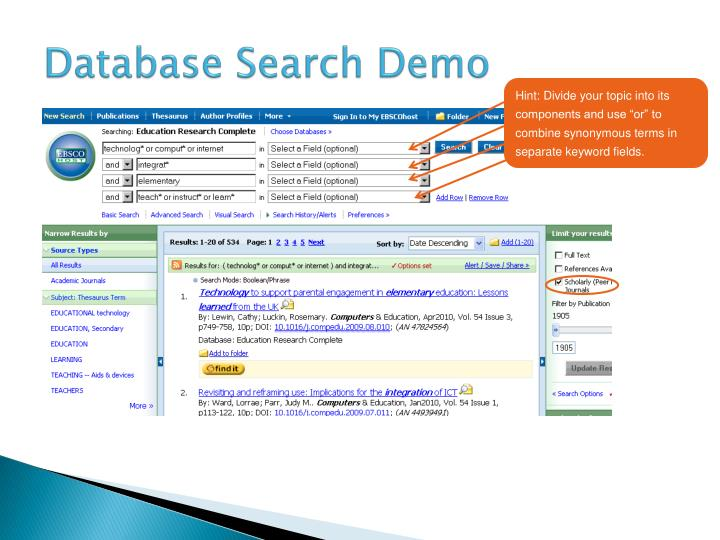 Database Search Demo