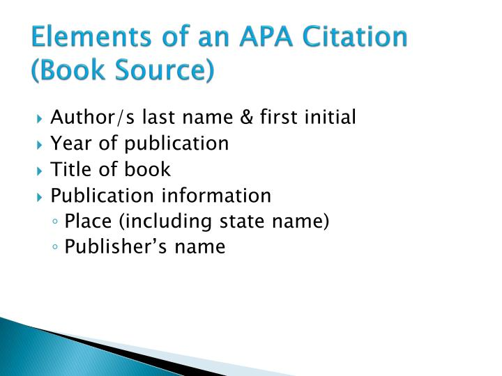 Elements of an APA Citation