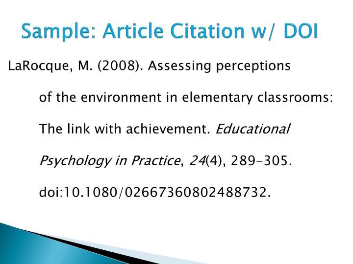 Sample: Article Citation w/ DOI