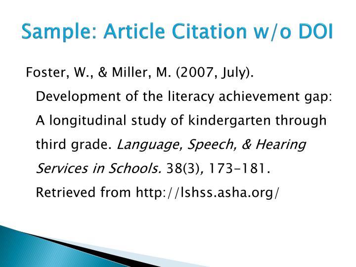 Sample: Article Citation w/o DOI